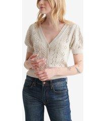 women's cropped short sleeve v-neck cardigan