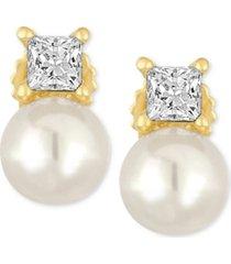 majorica gold-tone imitation pearl and crystal stud earrings