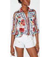 raga melissa cotton printed button-up shirt