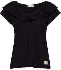 frill up top t-shirts & tops short-sleeved zwart odd molly