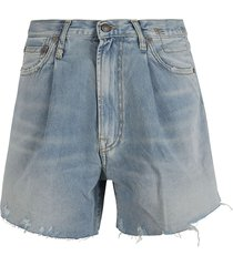 r13 danon pleated denim shorts