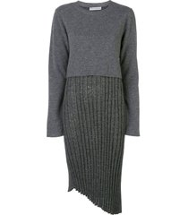 grey two-layer pleated dress