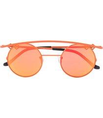 karen wazen mirror round retro sunglasses - orange