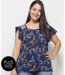 blusa heli bata floral plus size feminina