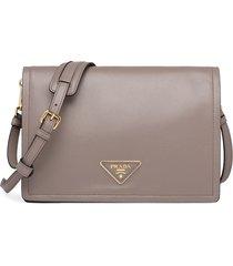 prada medium triangle-patch shoulder bag - grey