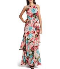 women's tahari floral halter neck chiffon maxi dress, size 6 - black