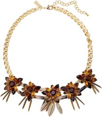 "inc gold-tone pave & stone tortoise-look flower statement necklace, 18"" + 3"" extender, created for macy's"