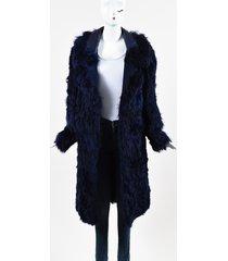 tom ford alpaca fur leather oversized collar coat blue/purple sz: s