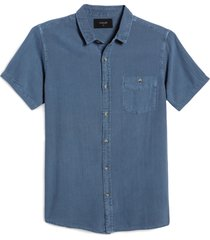 men's rolla's men at work button-up shirt, size x-large - blue