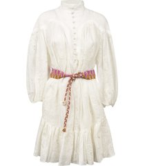 zimmermann belt tie high neck dress