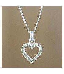 peridot pendant necklace, 'happy heart in love' (thailand)