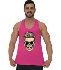 regata cavada masculina alto conceito caveira skull bigode cabelo arrepiado rosa choque - rosa - masculino - algodã£o - dafiti