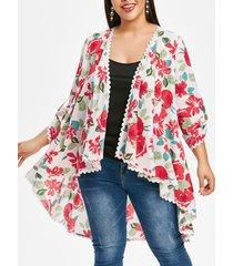plus size lace panel high low floral blouse