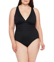 plus size women's la blanca island goddess one-piece swimsuit