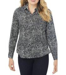 foxcroft ava zebra print non-iron cotton button-up shirt, size 24w in multi at nordstrom