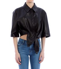 off-white cropped tied leather shirt