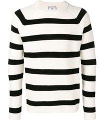 ami striped crew neck sweater raglan sleeves - white
