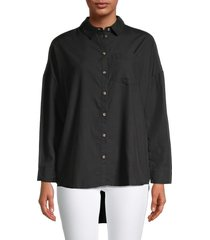 for the republic women's woven button-front top - black - size m