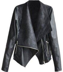 chaqueta mujer solapa grande cuero pu 8023