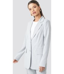 na-kd classic check straight fitted blazer - grey,blue