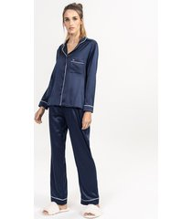 pijama conjunto longo em cetim marinho