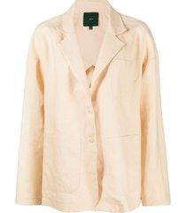 jejia linen drop-shoulder blazer - neutrals