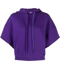 nº21 short-sleeved frayed hoodie - purple