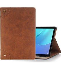 para huawei mediapad m5 10,8 pulgadas estilo retro flip horizontal pu funda de cuero con el titular y la cartera (brown)