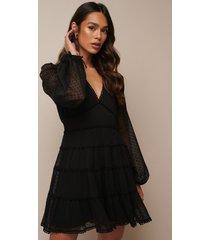 donnaromina x na-kd dotted chiffon frill dress - black