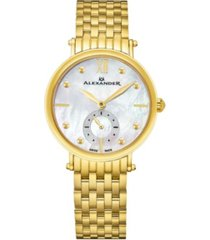 alexander watch a201b-02, ladies quartz small-second watch with yellow gold tone stainless steel case on yellow gold tone stainless steel bracelet