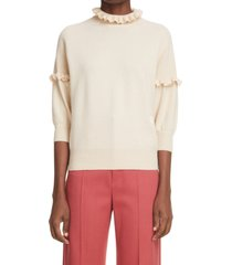 chloe ruffle cashmere sweater, size large in silky beige 27f at nordstrom