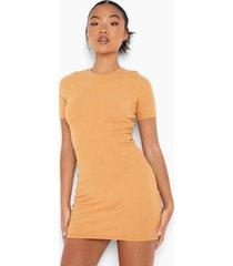 petite gerecyclede mini jurk met korte mouwen, taupe