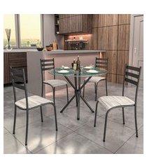 conjunto de mesa com tampo de vidro e 4 cadeiras istambul preto e off white