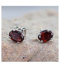 garnet stud earrings, 'scintillate' (india)