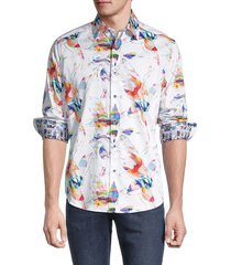 robert graham men's classic-fit printed shirt - white - size s