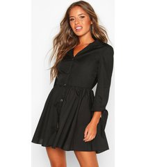 petite button through smock dress, black