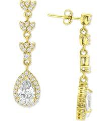 giani bernini cubic zirconia teardrop halo drop earrings in 18k gold-plated sterling silver, created for macy's