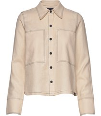 long sleeve shirt with contrast stitching overshirts beige scotch & soda