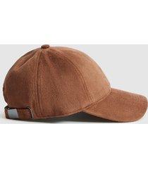 reiss stewie - suedette baseball cap in tobacco, mens
