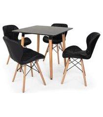 kit mesa jantar eiffel 80x80 preta + 04 cadeiras slim - preta