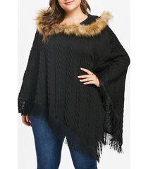 plus size asymmetrical fringe poncho sweater