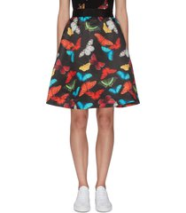 'earla' butterfly print flared skirt