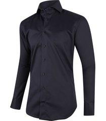 cavallaro heren overhemd black twill ml7 two ply cutaway italian fit