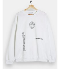 mens beige international print sweatshirt in white