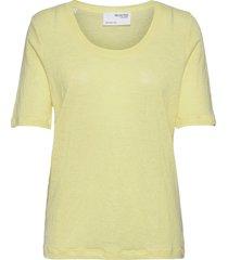 slflinen ss u-neck tee t-shirts & tops short-sleeved gul selected femme