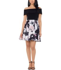 betsy & adam off-the-shoulder pleated dress