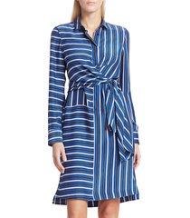 akris punto women's striped silk wrap dress - lake desert - size 14