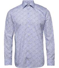 paisley poplin shirt skjorta business blå eton