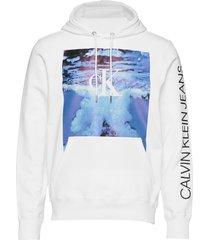 wave photoprint hoodie hoodie trui wit calvin klein jeans