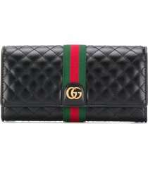 gucci quilted continental wallet - black